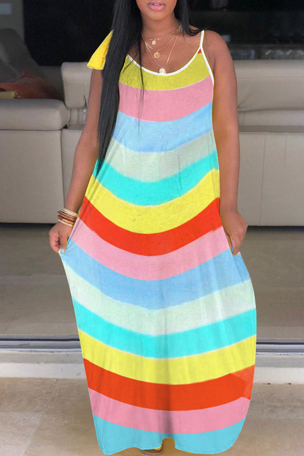 Rainbow Striped Strap Loose Dress