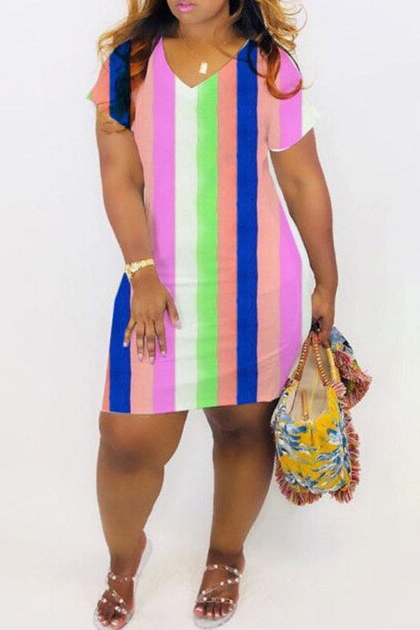 Rainbow Stripe Hip-Wrapped Dress