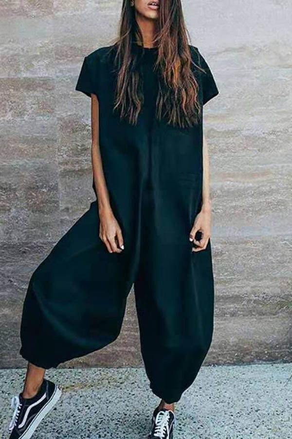Solid Color Loose Lantern Jumpsuit
