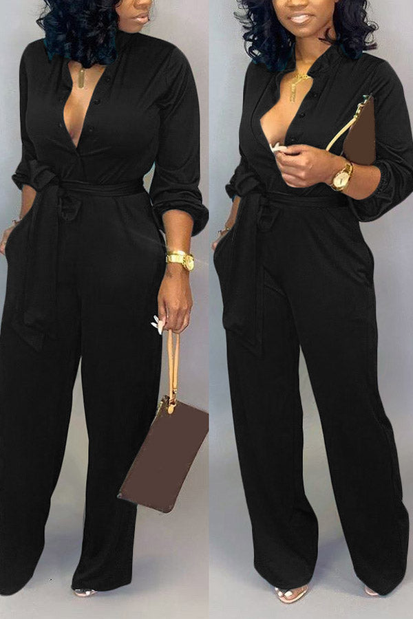 Solid Colour Lace-Up Mandarin Collar Jumpsuit
