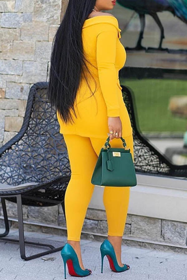 Off Shoulder Solid Color Two-Piece Set