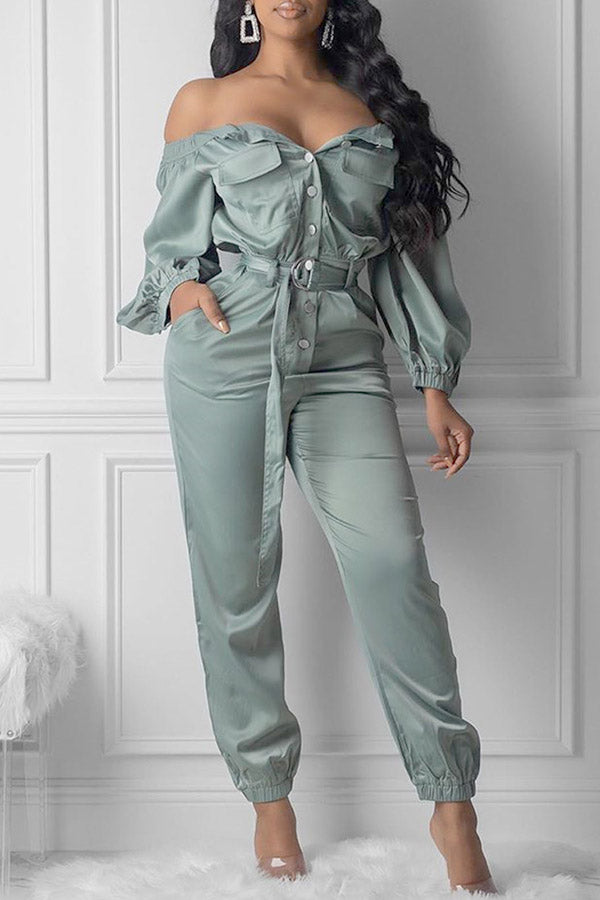 Solid Colour Off Shoulder Strap Jumpsuit