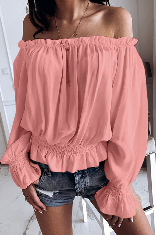 Off Shoulder Solid Colour Top
