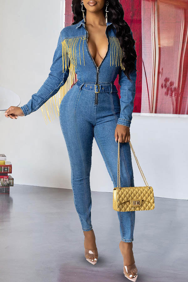 Solid Color Jeans Fringed Jumpsuit