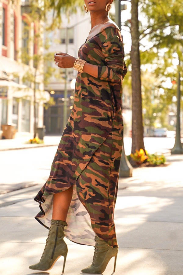 Deep V-Collar Camouflage Long-Sleeved Dress