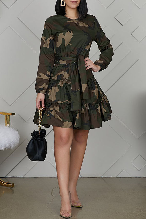 Camouflage Print Lace-Up Dress