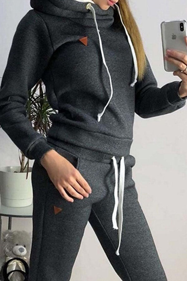 Loose Hooded Top Two Piece Set