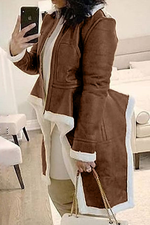 Mandarin Collar Slim Irregular Hem Coat