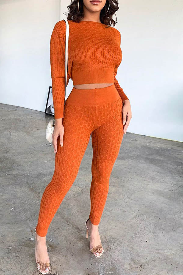 Solid Color Sweater Two Piece Set