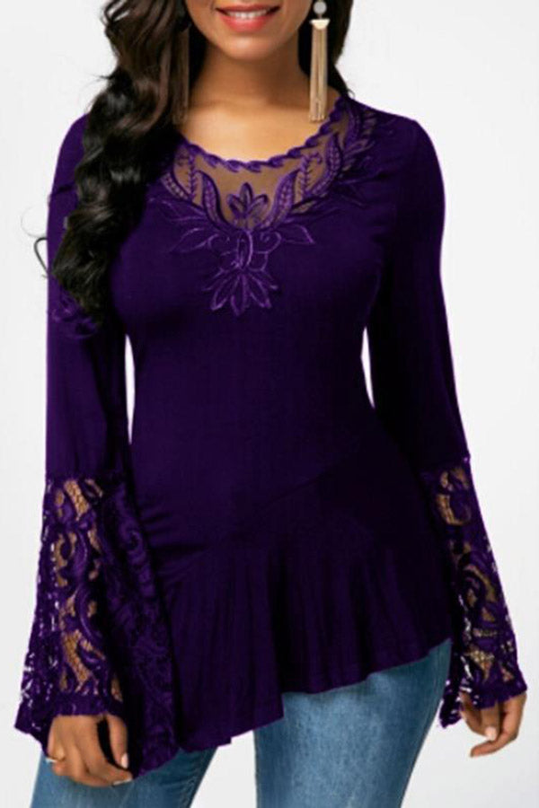 Asymmetric Flared Sleeve Floral Embroidered Top
