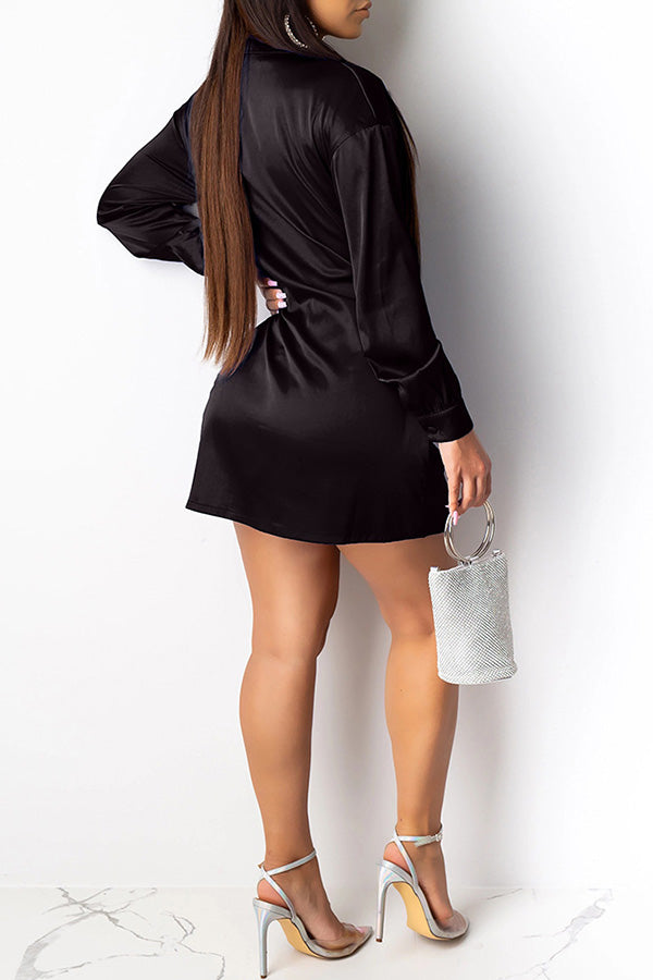 Solid V-neck Split Dress