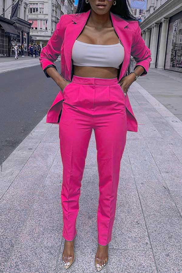Solid Color Fashion Two-piece Suit