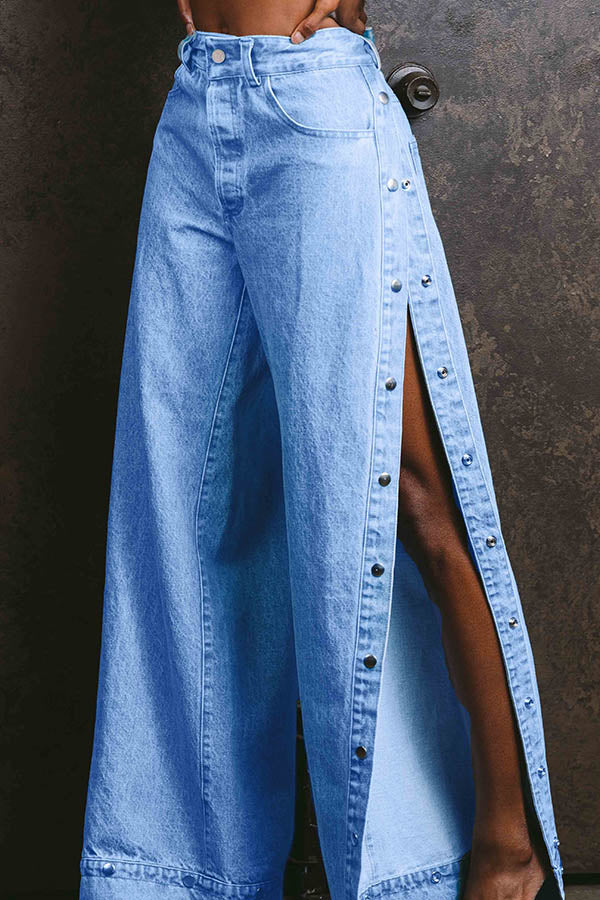 High Open Fork Button Jeans
