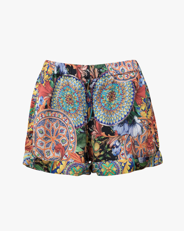 Satin Shorts mit Millefluer Muster