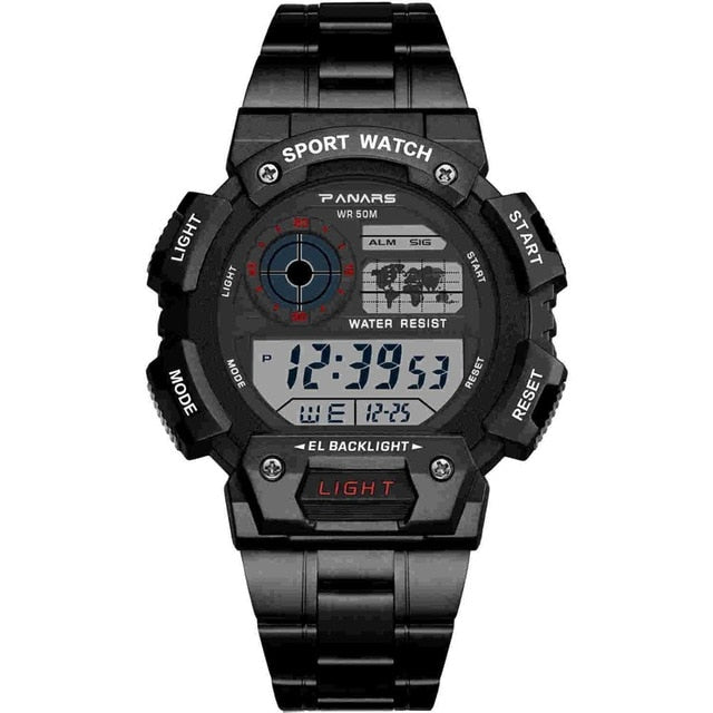 PANARS  Stainless Steel Military Sport  Waterproof LED Digital Watch - Urban Fashion King