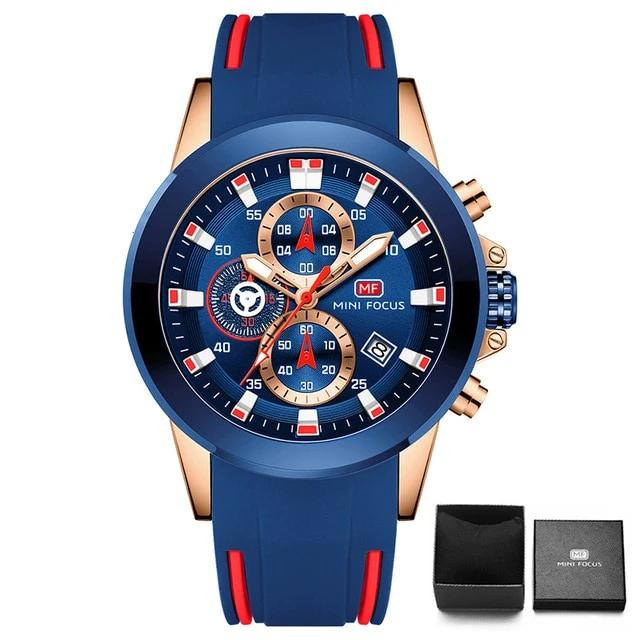 MINI FOCUS  Golden Blue Silicone Men's Watch - Urban Fashion King