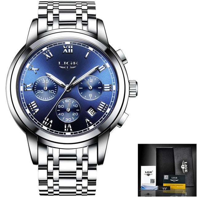 LIGE Men Luxury Brand Chronograph Sport Watches - Urban Fashion King