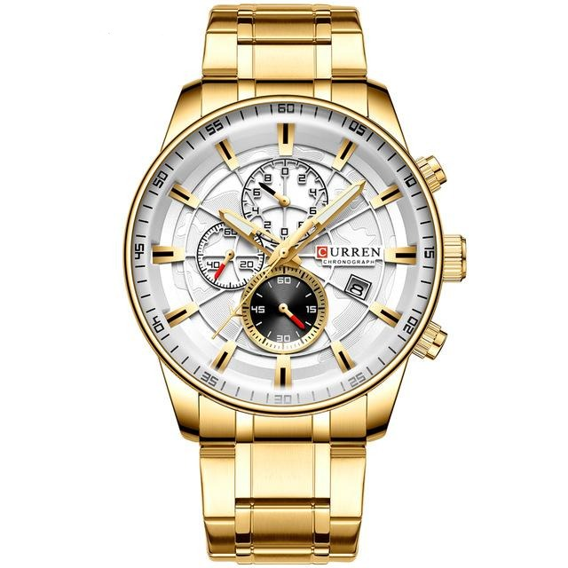 CURREN Gold Sport Waterproof Quartz Watches Mens Chronograph Date - Urban Fashion King