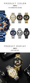 Relogio Masculino NIBOSI Chronograph Men Watches Waterproof Top Brand Luxury Brand Watch Men Stainless Steel Male Clock