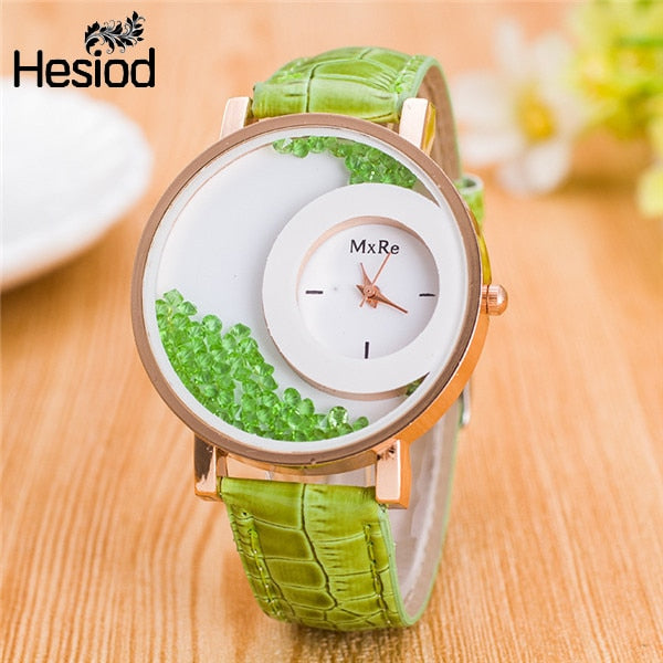 Leather Strap Rhinestone Wrist Watches - Urban Fashion King