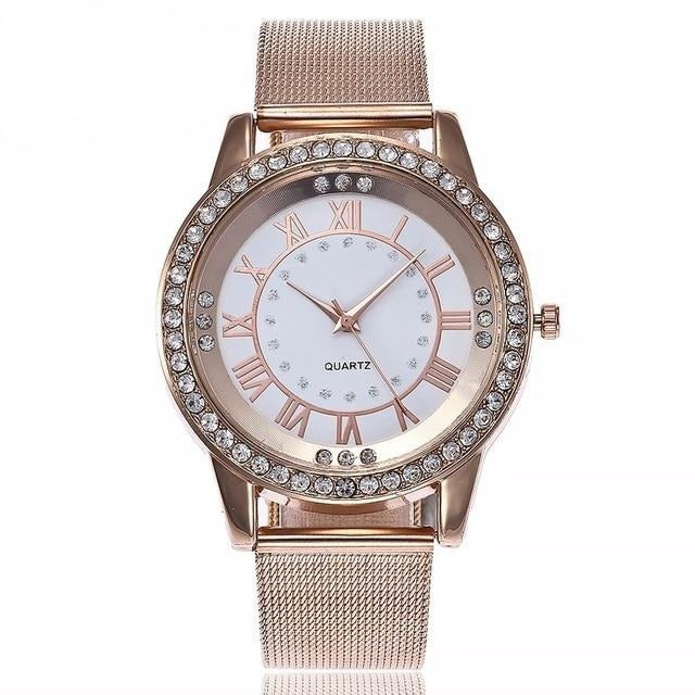 Casual Silver & Rose Gold Mesh Wristwatches - Urban Fashion King