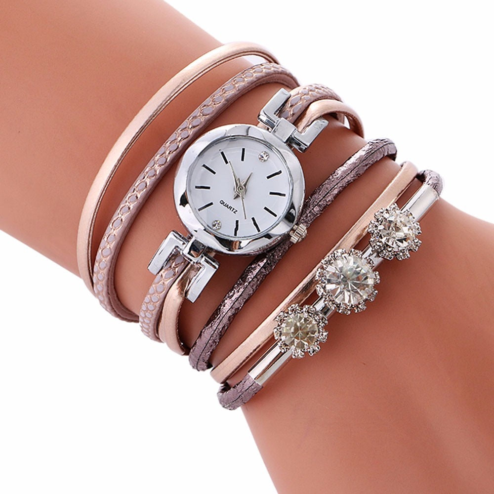 Luxury Rhinestone Leather Watch - Urban Fashion King