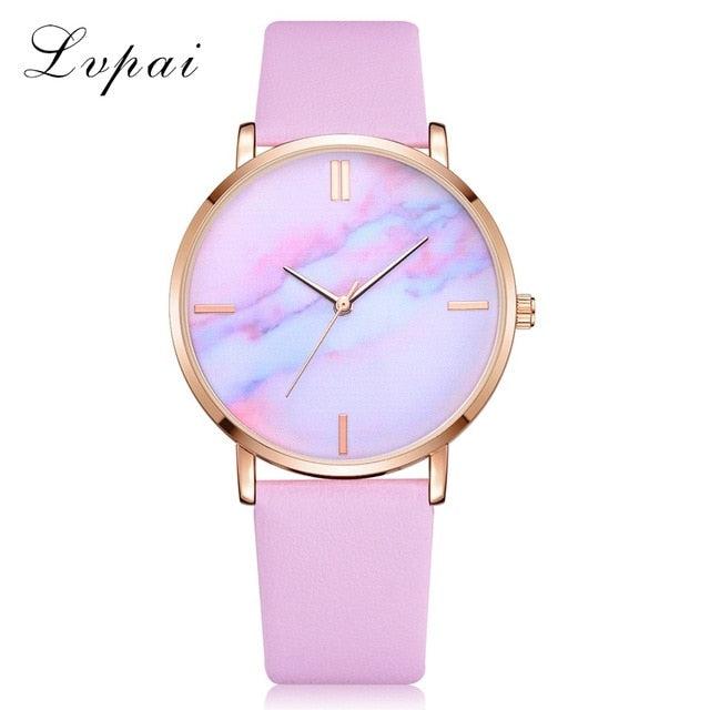 Luxury Leather Strip Marble Wristwatch - Urban Fashion King
