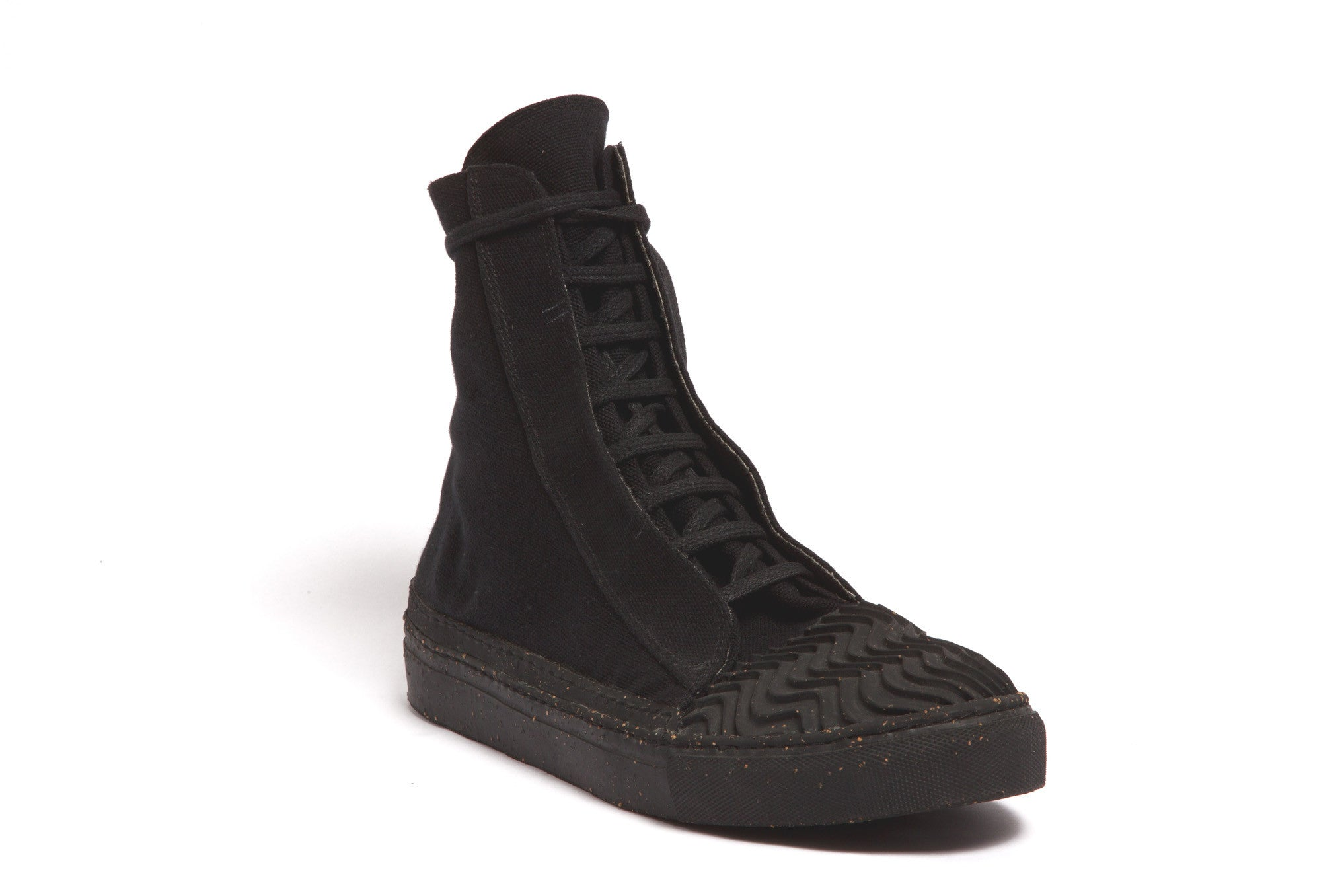 hi-top sneaker with hidden laces BLACK