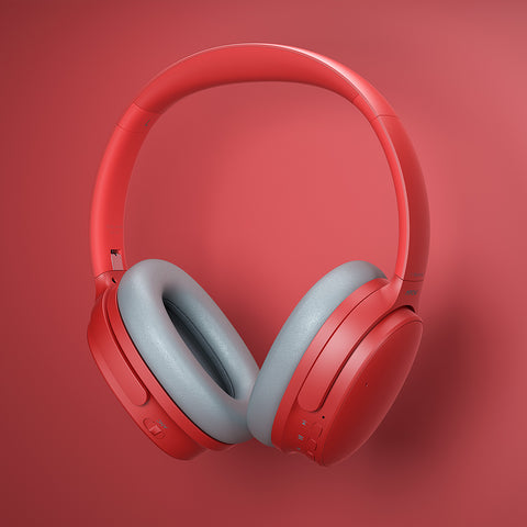 Bold Red Mpow H10 Recoloring Noise-Cancelling Headphones