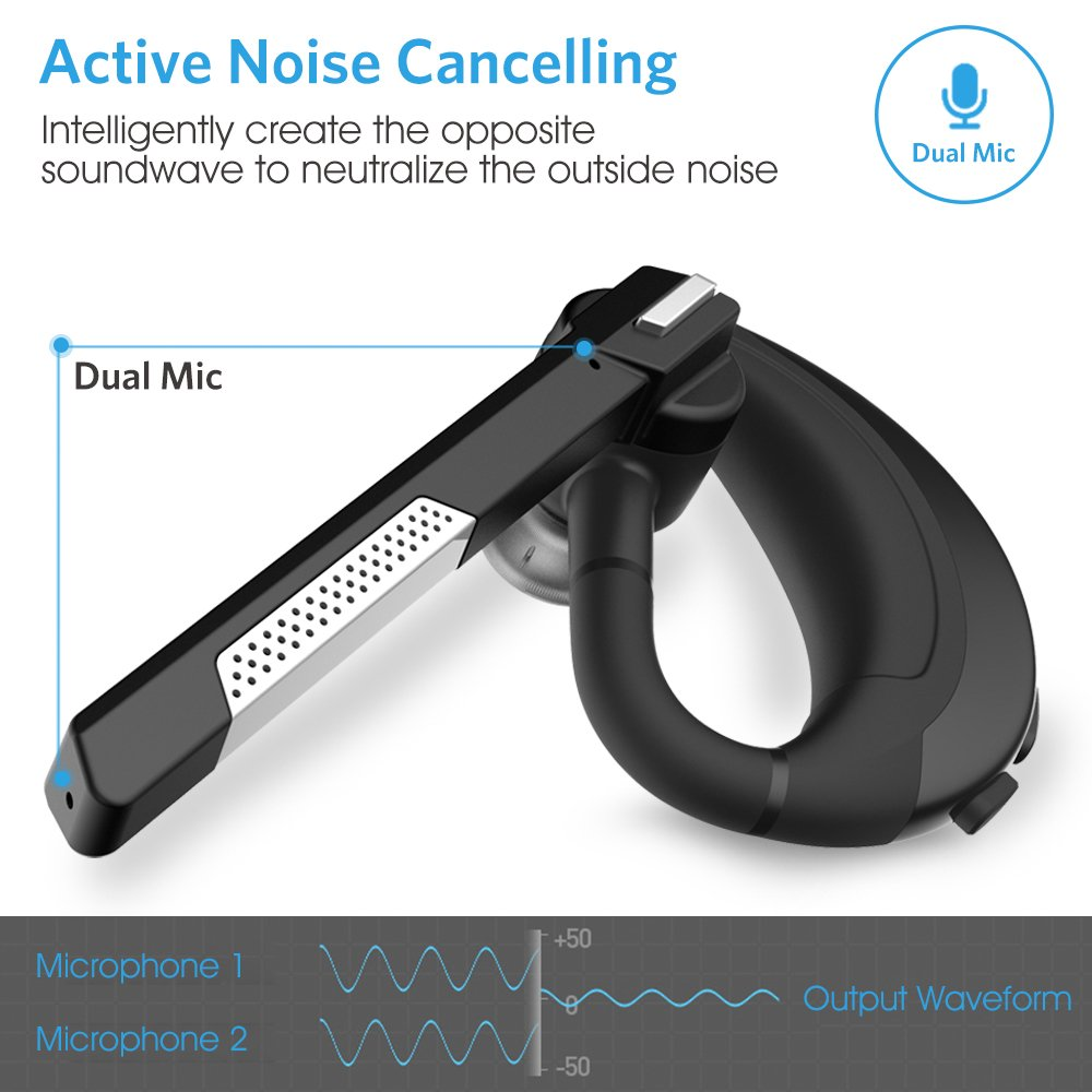 Wireless Earpiece for Cellphones - Active Noise Canceling/w Mic
