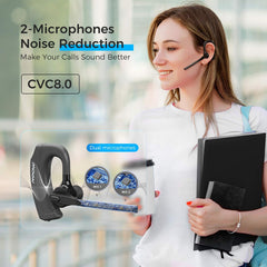 MPOW EM20 Bluetooth V5.0 Headset with 2-Mic 240° Adjustable/ Noise Cancellation CVC8.0/ 10H Playtime