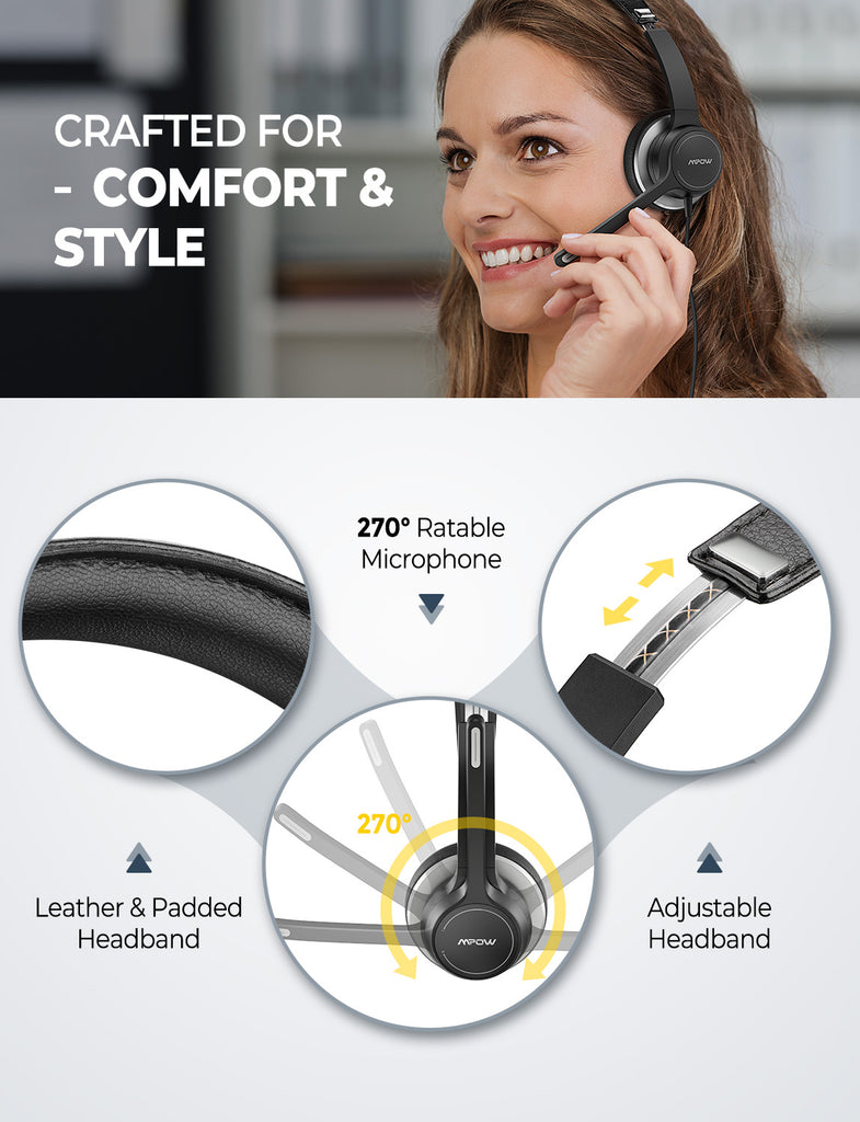 Mpow HC6 USB Headset w/ Microphone for Skype/Webinar