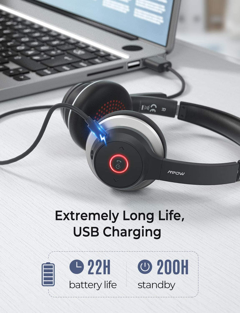 Mpow Wireless Bluetooth Headset V5.0 w/ Microphone for Computer