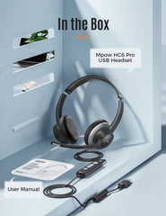 Mpow HC6 Pro USB Headset with Microphones