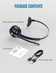 Mpow Pro Bluetooth Wireless Headset V5.0 with Microphone (Blue)