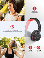 [25Hrs Playtime] Mpow Wireless Headphones, Hi-Fi Stereo Sound Black-Red