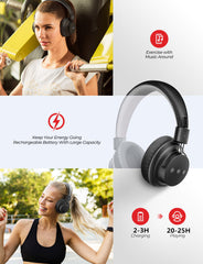 [25Hrs Playtime] Mpow Wireless Headphones Black-grey
