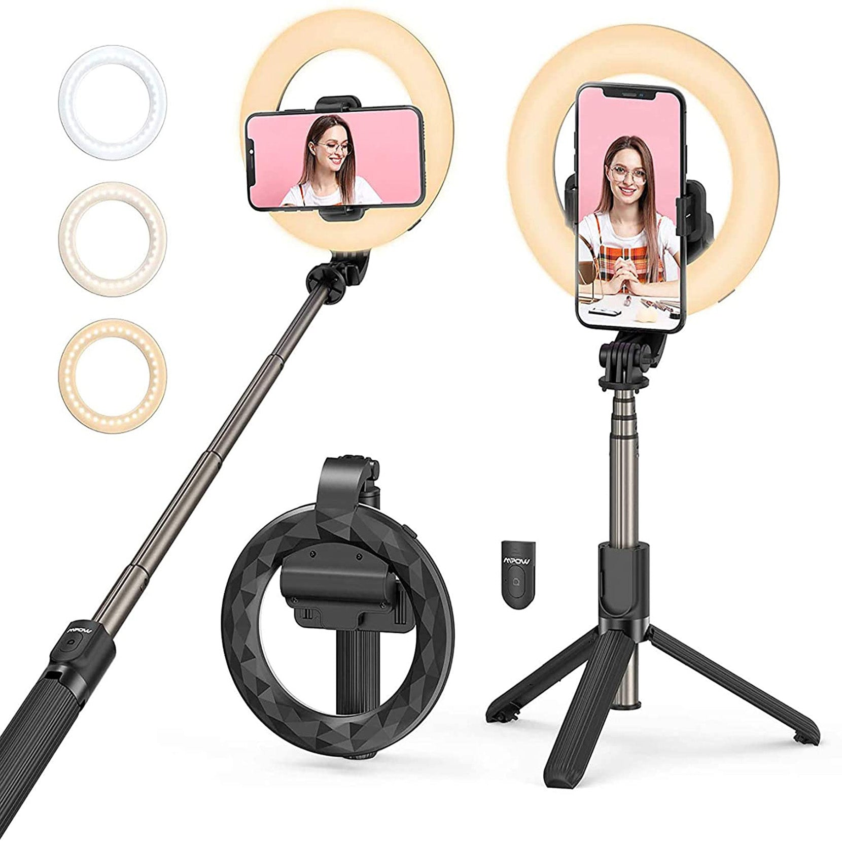Ring Light with Tripod Stand & Phone Holder Selfie Stick for Makeup/TikTok, Mpow Selfie Ring Light, Portable and Dimmable, Compatible with iPhone 12