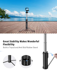 Selfie Stick Tripod with LED, Bluetooth Detachable Remote, Mpow All In One Portable Extendable Selfie Stick Compatible with iPhone Xs MAX/XR/XS/X/8/8P/7/7P/6s, Galaxy S10/S9/S8, Gopro/Small Camera
