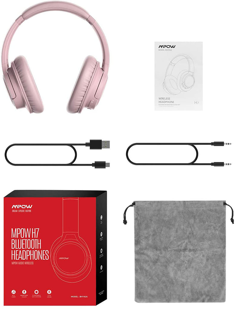 Mpow H7 Bluetooth Headphones Over Ear (Pink)
