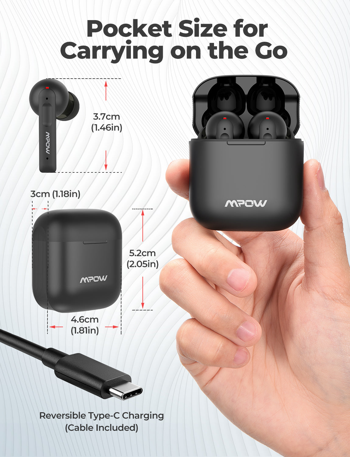 Mpow X3 ANC Wireless Earbuds-Black
