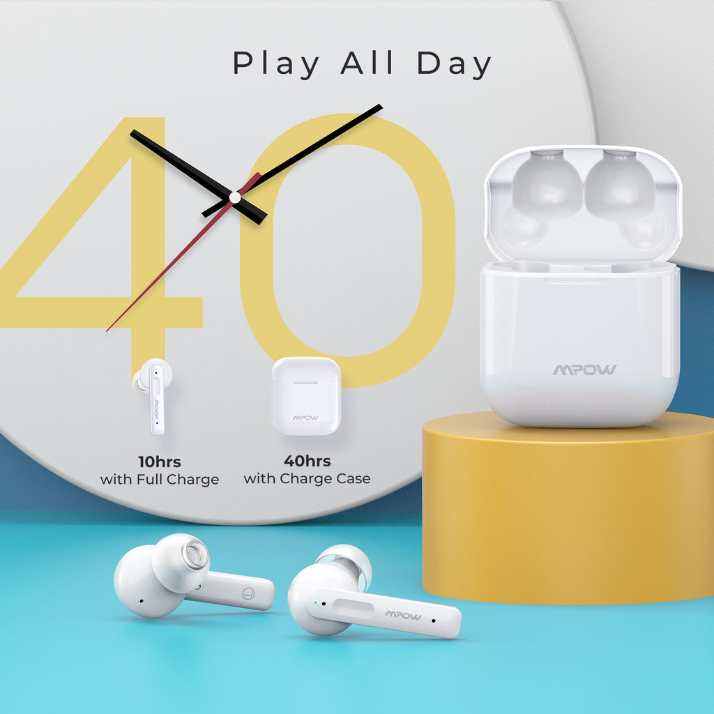 Mpow X3 Hybrid ANC Wireless Earbuds-White