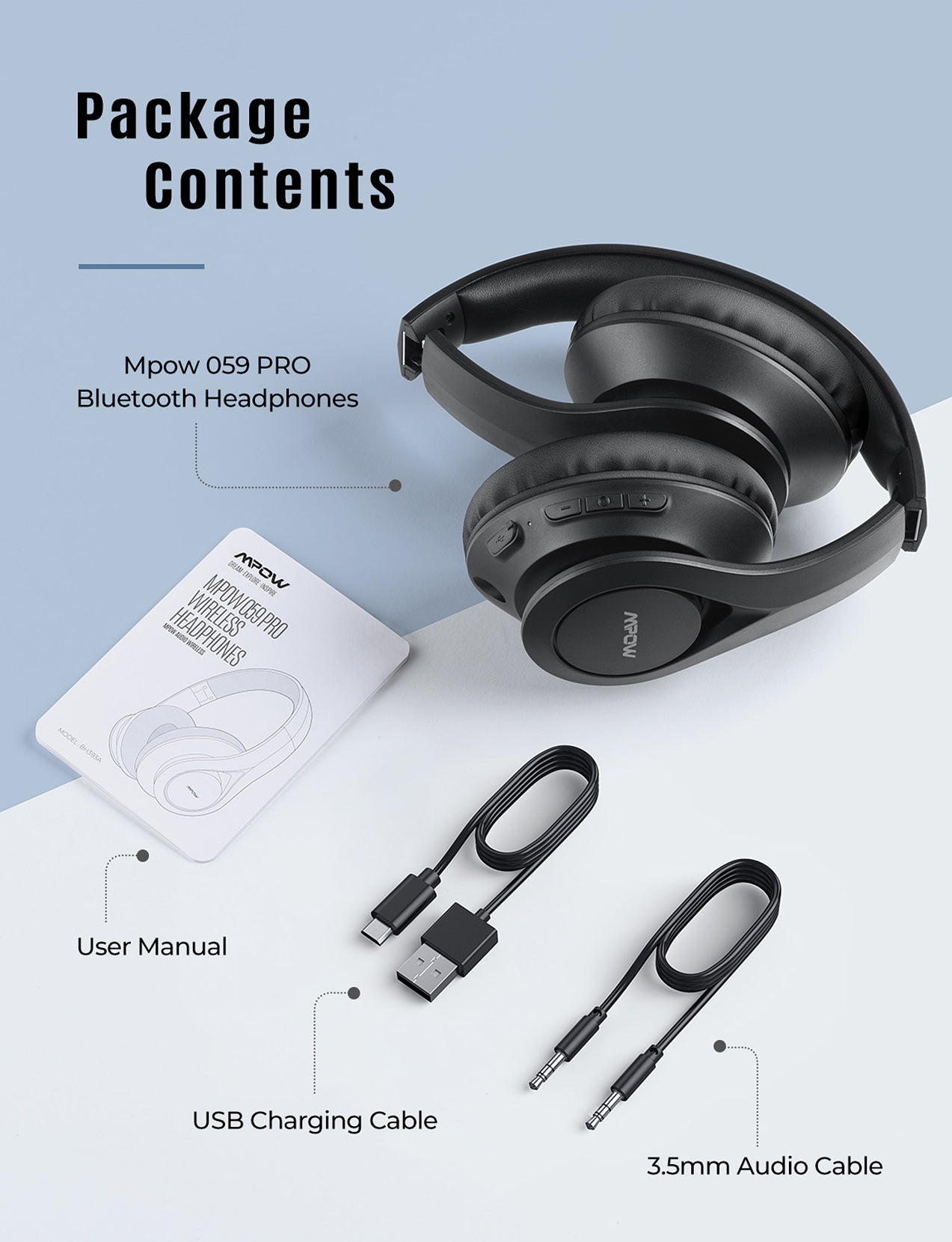 Mpow 059 Pro/Lite Bluetooth Headphones (Black)