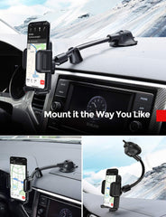 Mpow CA139A Car Phone Mount, Dashboad Windshield Phone Holder with Long Arm