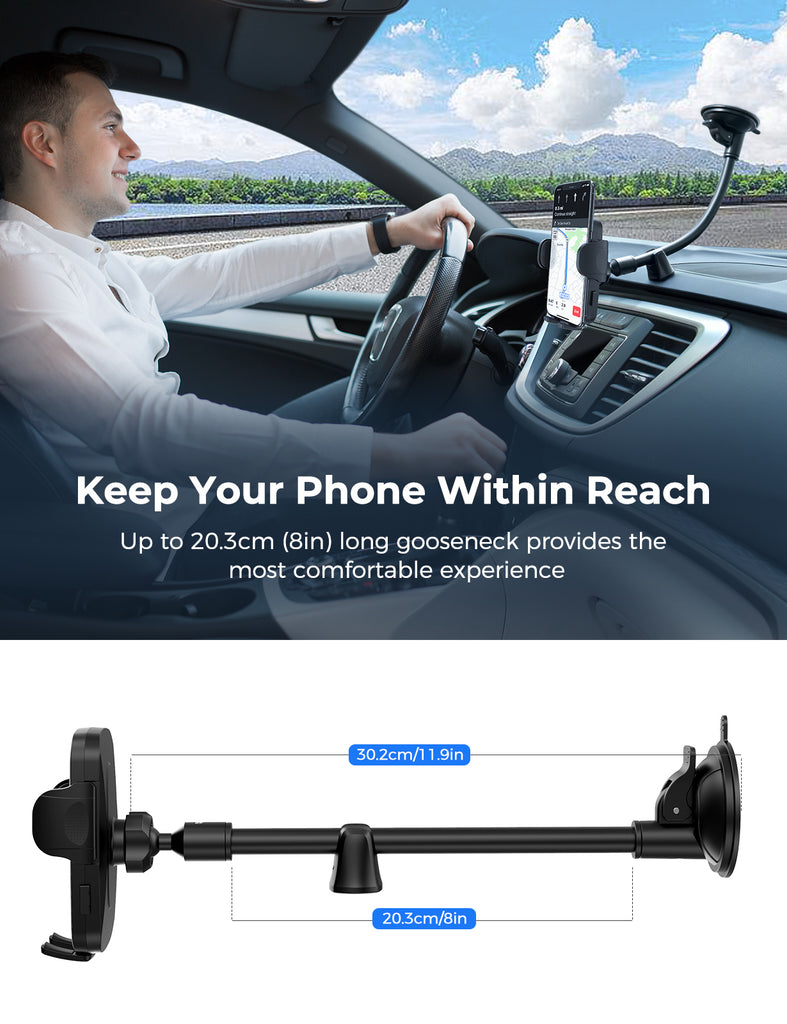 Mpow CA159A Windshield Car Phone Holder with Long Gooseneck