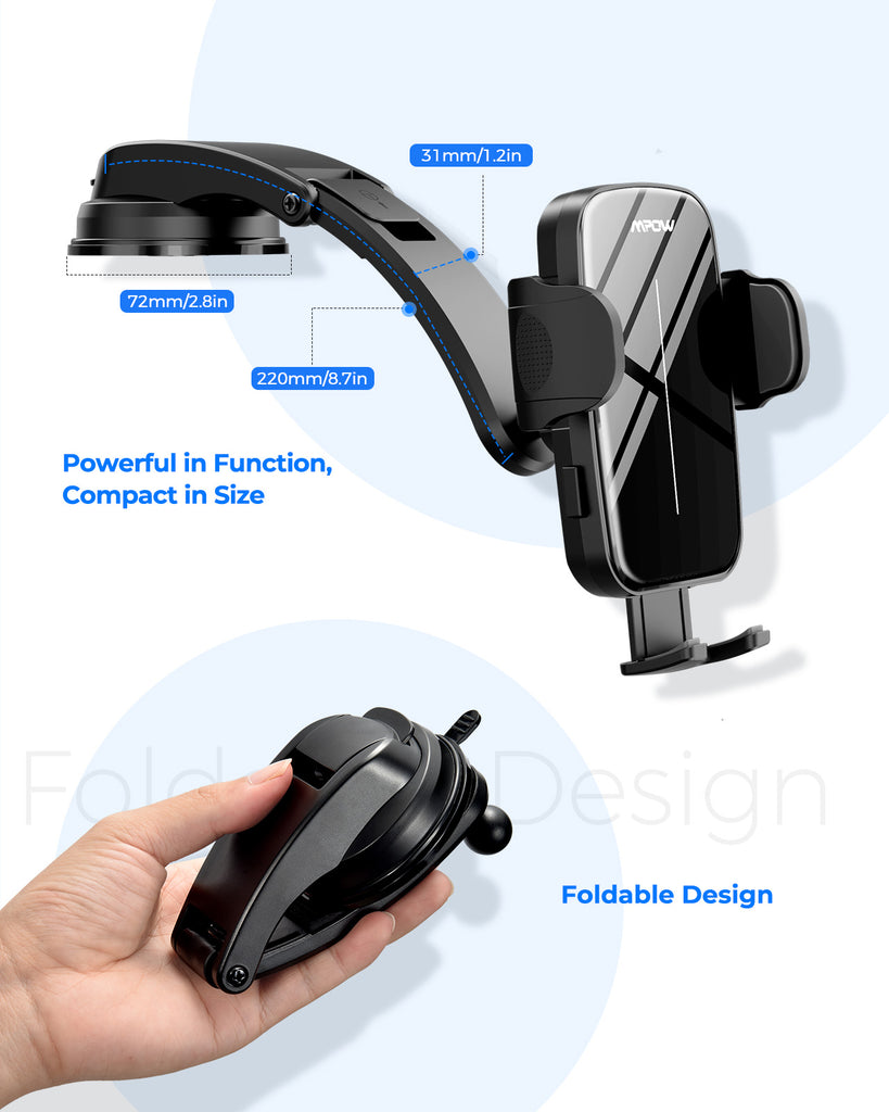Mpow CA162A Dashboard Car Phone Mount, with Sticky Gel Suction Cup