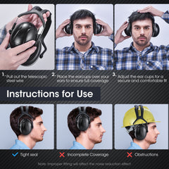 Mpow HP158A Noise Reduction Safety Ear Muffs, Upgraded, Adjustable, NRR 28dB