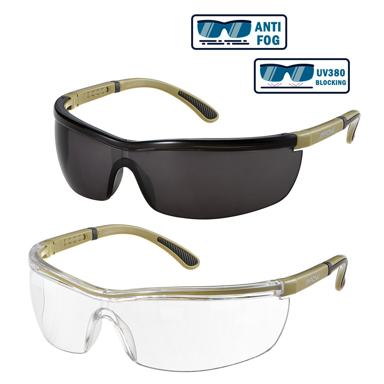MPOW HP125A Safety Glasses, 2 Pairs