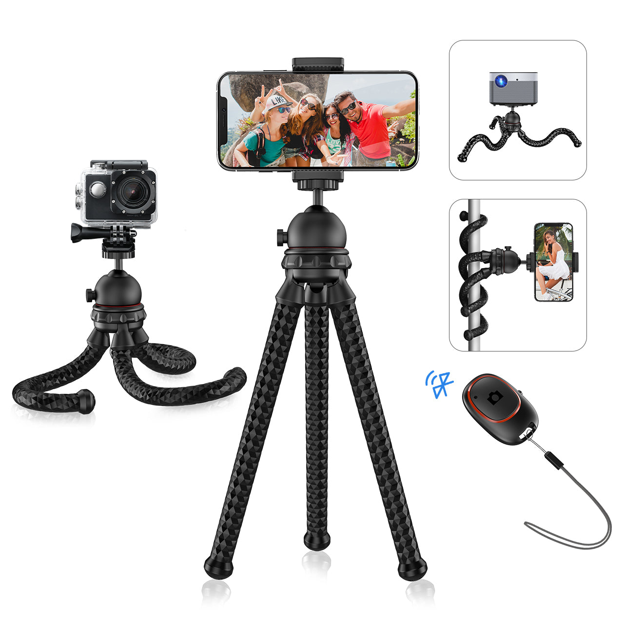 Mpow PA203A Flexible Phone Tripod with Bluetooth 5.0 Remote Shutter