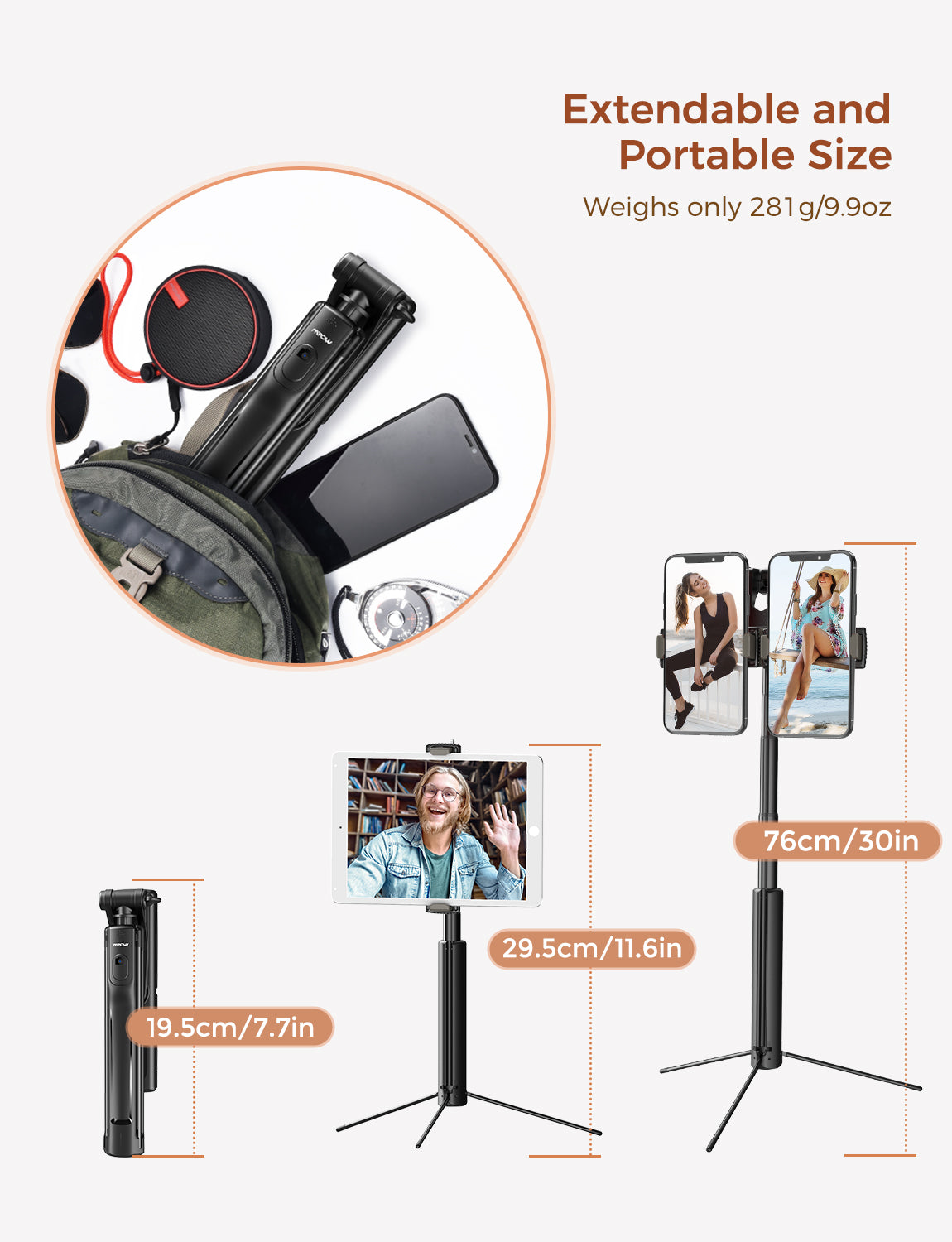 MPOW PA218A Selfie Stick Tripod with Dual Phone Holders